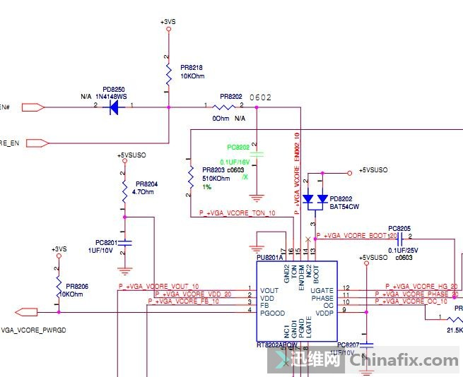3v 5v正常,但 vga_vcore有电压出来,查到pu8201  15脚有控制电压 1.