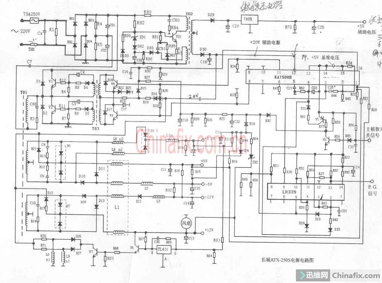 朋友送来一个电源长城 ATX3000电源 故障为 短接绿线黑线 电源启动 大约过几分钟就保护 没有找到图纸 只找到长城250S 跑线路看看差不多 万用表量 LM339 5脚电压 开始 0.84V 慢慢升高到1.3V保护 将339 2脚到5脚的反馈二极管断开 发现5脚电压从0.84一直升到2V以上 而此时所有电压都没有输出了 只有 如图所示的 D32(H480)阳极有 5V电压 断开 H48故障排除 ,同型号二极管换上 未出现故障 ,原来是H48 热稳定性不好 时间长了会反向击穿 本电源维修价值不高 纯粹练