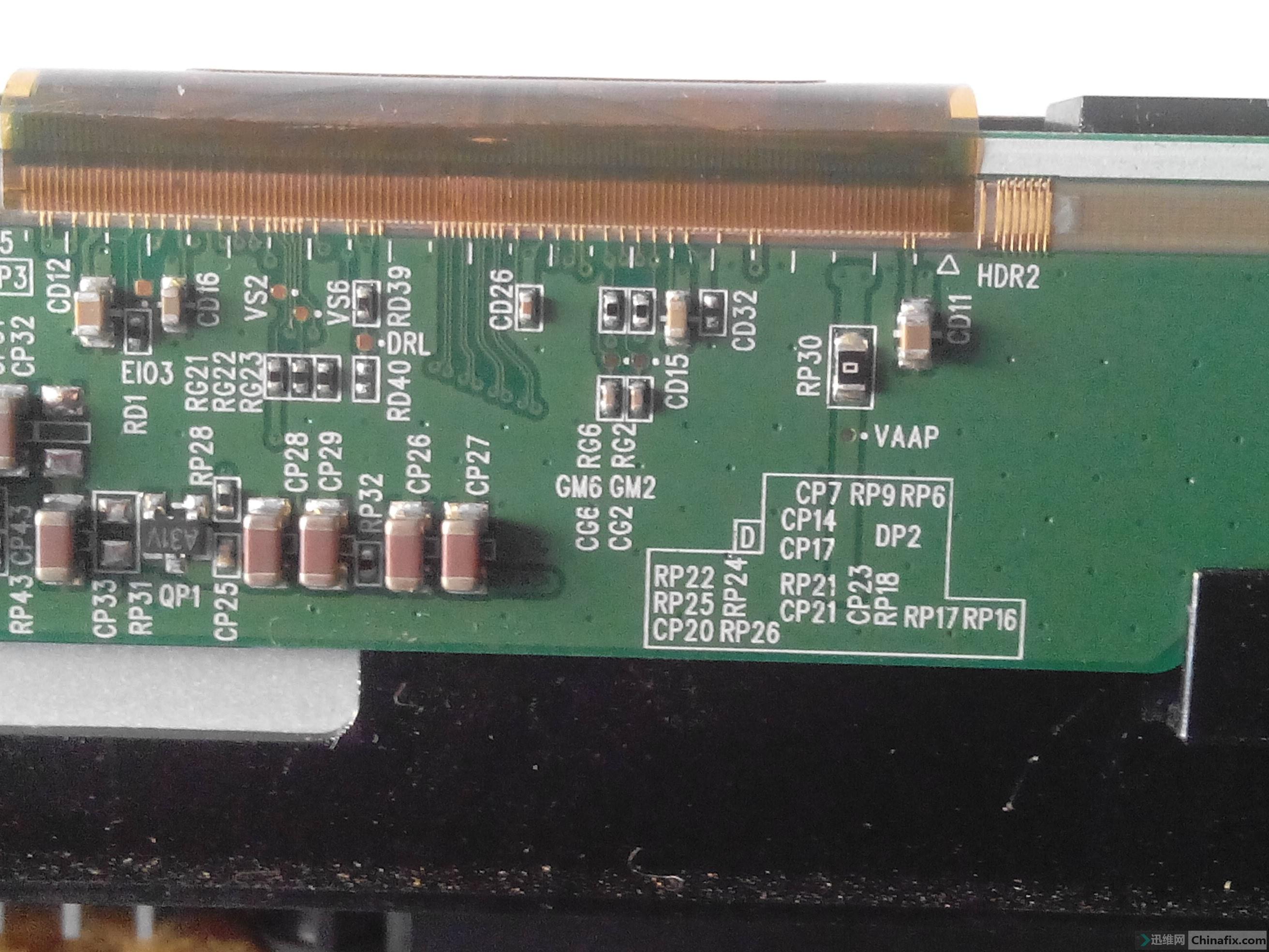 电源板测量电压正常 主板可能正常 现正测试逻辑板各路电压如下VGL -5.49V VGH 2.06V VGHP 2.06V VDD33 3.28V VDD18 1.78V GVOFF 3.26V PWRON 0 V -----------是否正常,,是 现请教以下问题 1.标注QP1 A31V是什么管子 开机测量其上面两只脚的电压均为11.36v 而下面一只脚为0v 是否正常 2.