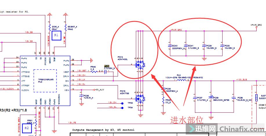 清理好进水部位,发现EC的3脚腐蚀断了,EC的三脚数据手册上是接地的,而这个机器是接+RTC_CELL,会有影响吗?现在需要加焊的部位,涂焊油全部加焊,QFN芯片摘下然后重新焊接。都做完后插电,不短路了,电流一会0.6一会1.1A,但屏幕始终不亮。想到了EC的3脚,拆下换新,换了一块EC故障照旧,证明机器点不亮跟3脚断线没什么关系。既然是进水的机器,电流有时候是0.
