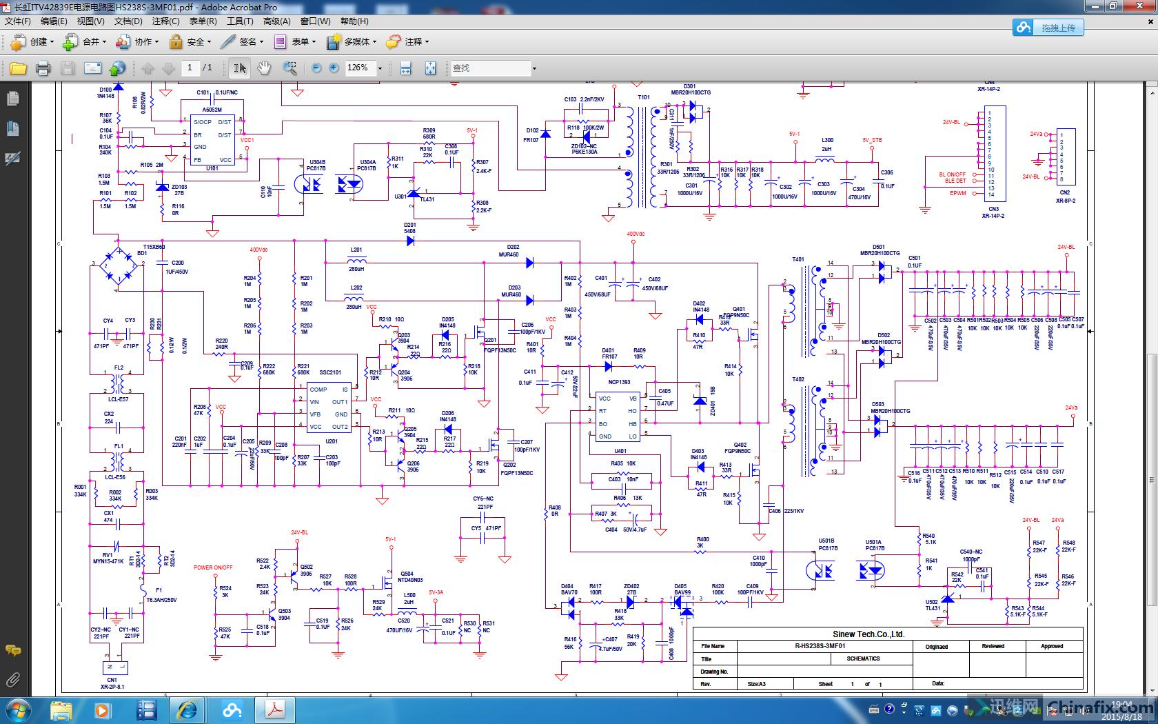 长虹itv42839e电源电路图hs238s-3mf01