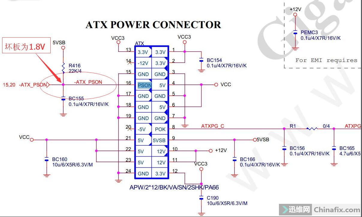 技嘉迷你小主板GA-F2A85XN-WiFi自动上电,插上24针电源主板就自动上电,插不插内存也没有任何蜂鸣器报警提示音,长时间按主板开关也关不到电源,感觉上电的几个信号问题,量测主板开机触发(PWRBTSW)电压为正常5V,电源线上的绿色线(ATX_PSON)电压为1.8V(正常5V),电压过低,这样就迫使电源强制发出12V,5V,3V主电压,主板内部并未完成开机过程,主板不亮。这样问题就找到了,测试ATX_PSON对地阻值无短路现象,在网上下载了此板图纸,ATX_PSON分支电路简单,一共才连接5个元