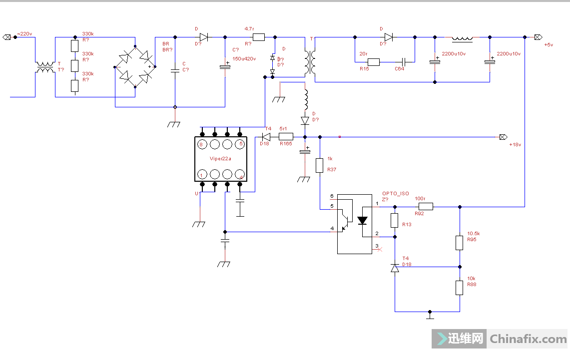 viper22a反馈电源电压偏高