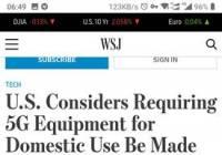 外媒:美国考虑要求5G手机制造商撤出中国