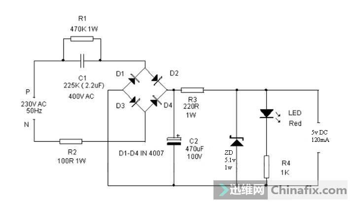 220V转5V直通无隔离线路图 电路与ac不隔离要小心触电.jpg