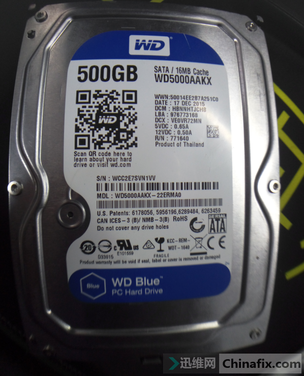 西部WDC WD5000AAKX硬盘数据恢复案例1