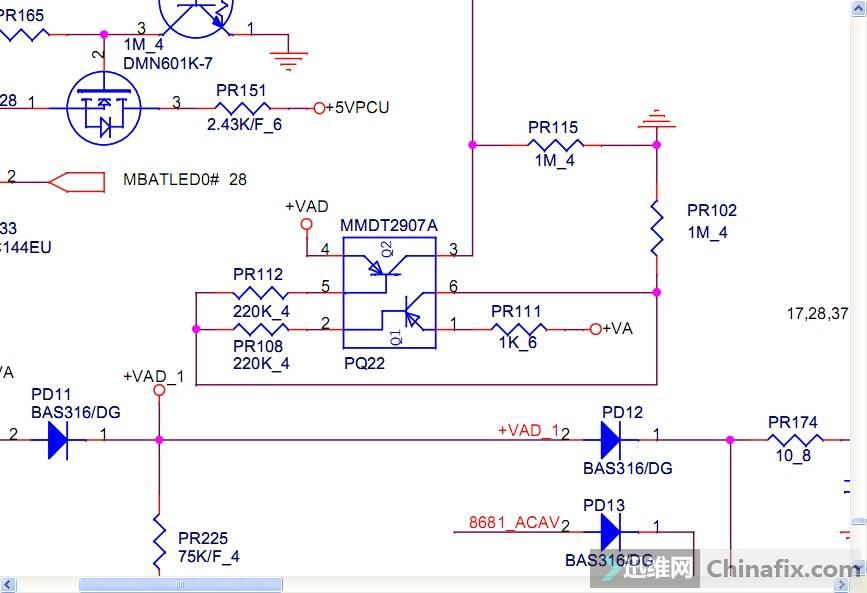 偶然发现VAD电压只有+13.8v 量PQ22   4脚和保护隔离还相通,直接飞线(可能是之前保护管烧的底下有断线)
