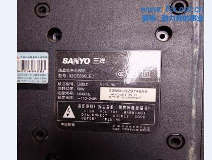 三洋32CE660LED液晶电视黑屏故障维修案例1