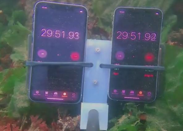 苹果iPhone11/Pro防水测试:通过水下无人机下潜至12米