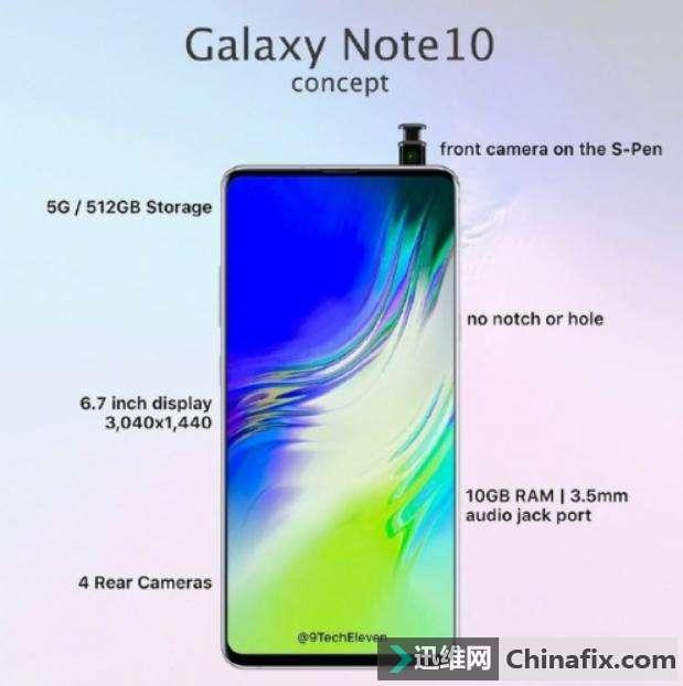 真全面屏手机三星Note 10渲染图首曝光:无开孔真全面屏