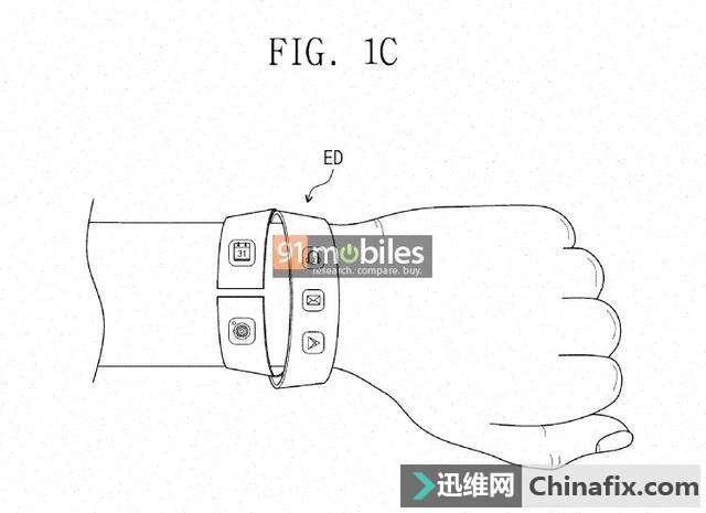 外媒:三星可穿戴設備專利曝光 擁有兩個顯示器