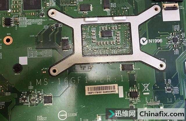 微星MS-16GF1笔记本进液,电脑开机不显示,老司机一根飞线搞定